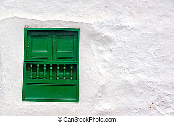 Green Window and White Wall