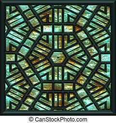 green window - green glass window