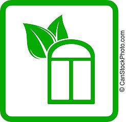 green window with leaf