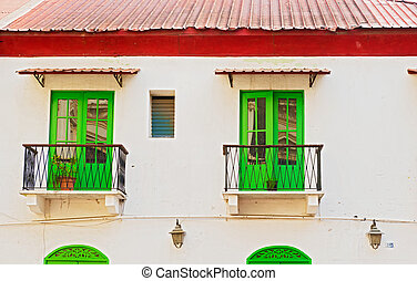 Green windows in old house