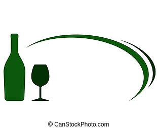 green wine bottle and glass background
