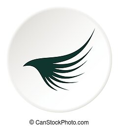 Green wing icon, flat style