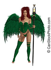 Green Winged Angel With Red Hair - Green winged angel with...