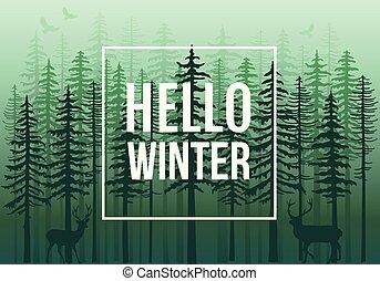 Green winter forest with reindeer, vector