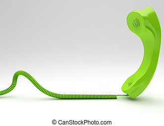 Green wired telephone isolated on white background
