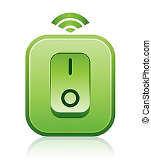 This illustration features an isolated icon of a green wireless light switch which is an environmentally friendly and safe self-powered remote switch that triggers, transmits or emits a signal via infrared waves or radio frequencies into a phototransistor that%u2019s connected to a relay on the ...