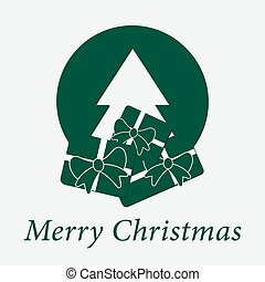 green wishes with text - Christmas tree and gifts