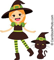 Green Witch and Cat