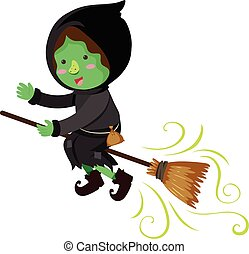 Green witch flying on magic broom
