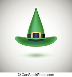 Green witch hat for Halloween.