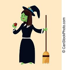 green witch ugly apple broom with black hat