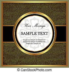 Green with gold vintage card. Vector illustration