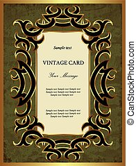 Green with gold vintage card