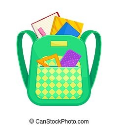 Green with yellow school backpack. Vector illustration on a white background.