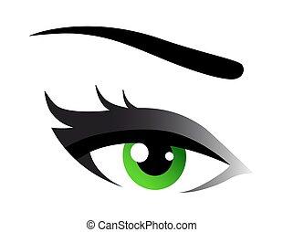 green woman eye