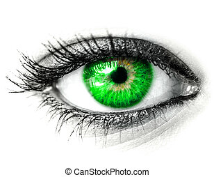 Green woman eye macro shot