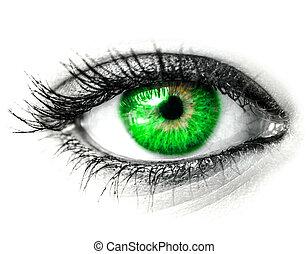 Green woman eye macro shot