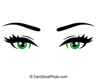 green woman eyes