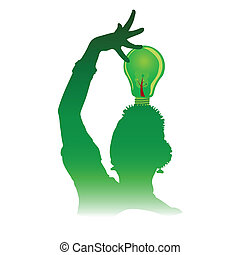 green woman with green light bulb