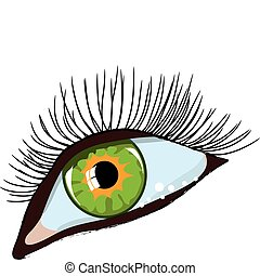 green woman\\\'s eye - Green female eye with long eyelashes....