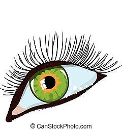 green woman\\\'s eye