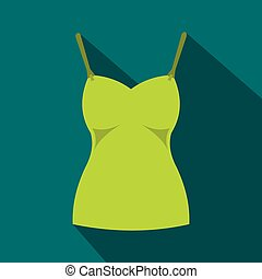 Green womans tank top icon, flat style