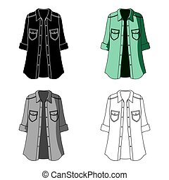 Green Women's jacket with buttons and short sleeves. Casual wear for the stylish woman. Women clothing single icon in cartoon style vector symbol stock illustration.