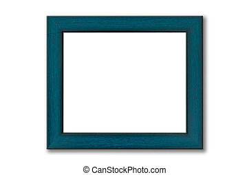 Green wood picture frame on white