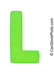 "green wooden alphabet capital letter ""L"" isolated on white background"