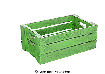 Green wooden box on white background with clipping path