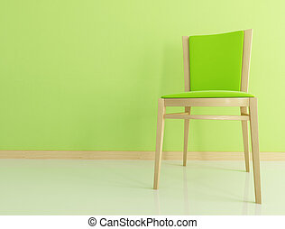 green wooden chair - wooden and velvet chair against green...