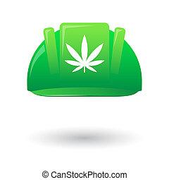 Green work helmet wit a marijuana leaf