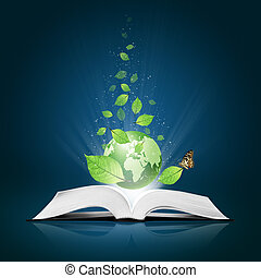 Green world and leaf have butterfly on open white book