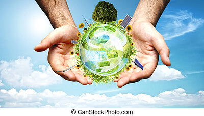 Green world concept - Word with aerogenerator, solar panel...