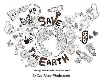 Green world drawing concept. Save the earth. Ecology doodles...