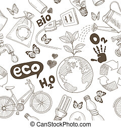 Green world drawing Save the earth concept. Ecology doodles ...