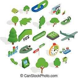 Green world icons set, isometric style