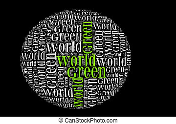 Green world info-text graphics and arrangement with sphere shape concept