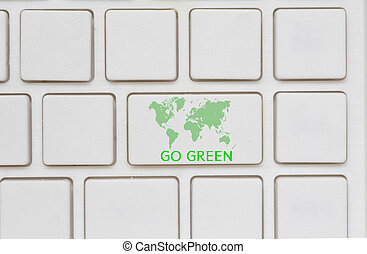 Green World key on a computer keyboard with