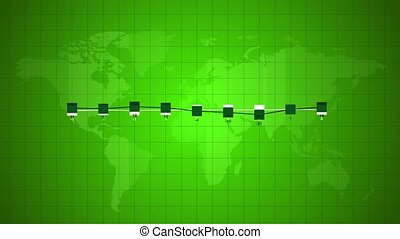 Green world linear chart infographics abstract animation,...