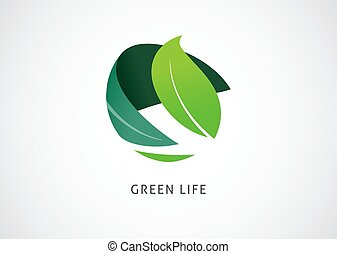 Green world logo and icon, concept design. Vector illustration