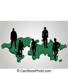 Green world map and business people
