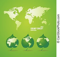 Green world map.