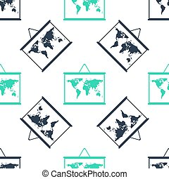 Green World map on a school blackboard icon isolated seamless pattern on white background. Drawing of map on chalkboard. Vector