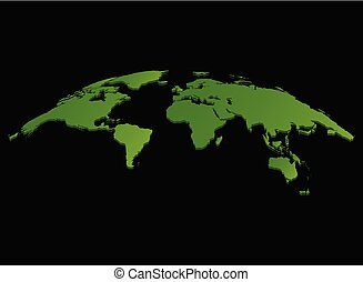 green World map vector isolated on black background