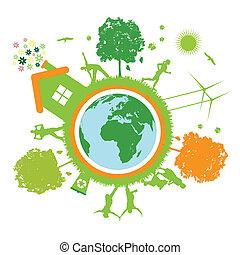 green world , planet, life