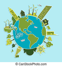 Eco friendly green world trees, buildings, houses, wind turbines and green sun illustration. Vector layered for easy editing.