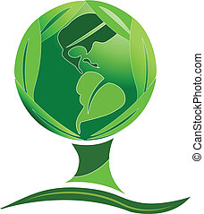 Green world tree leafs logo