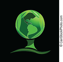 Green world tree leafs logo
