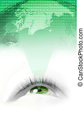 green world vision - floating green eye projecting the...